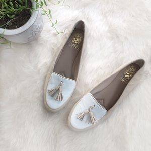 [Vince Camuto]Lidia White & Cream Flat Loafers